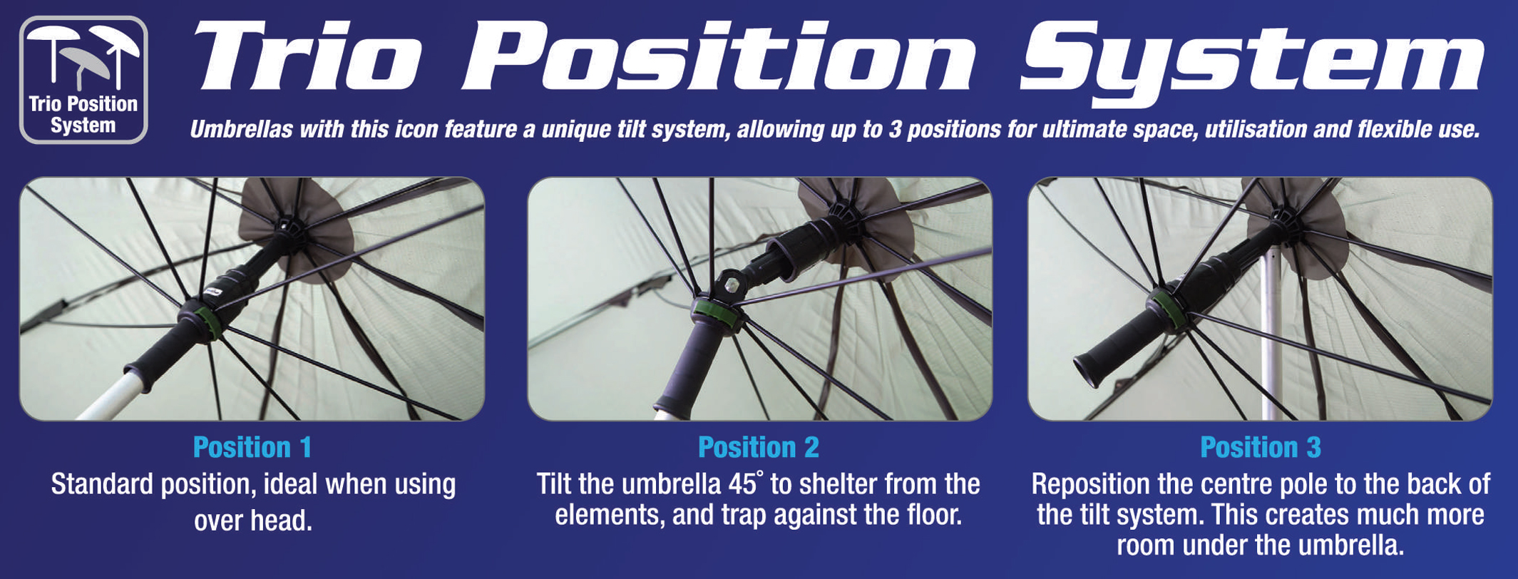Trio Position Angle Tilt Umbrella